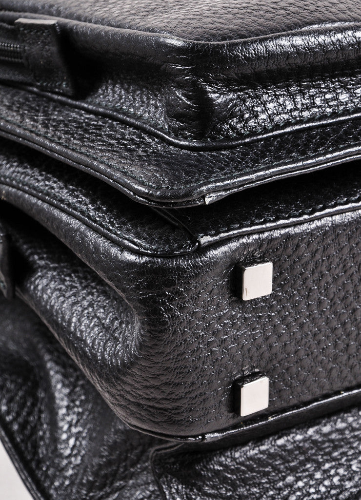 Gucci Black Grain Leather Oversized Messenger Briefcase Detail
