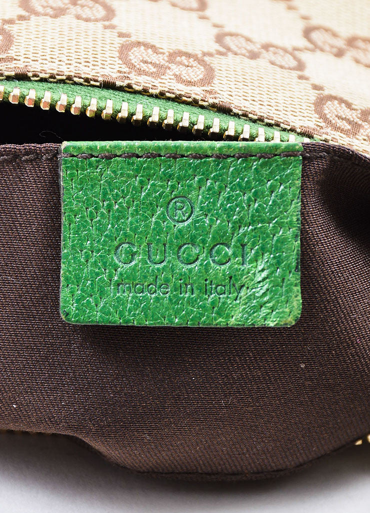 Gucci Brown and Tan Monogrammed Canvas and Green Leather Trimmed Pochette Bag Brand