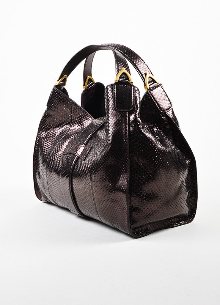 "Gucci Dark Purple Metallic Python Gold Toned ""Soft Stirrup"" Carryall Shoulder Bag Sideview"