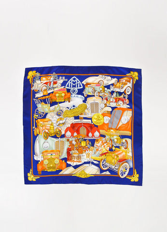 "Hermes Navy and Multicolor Silk Printed ""Automobile"" Scarf Frontview 2"