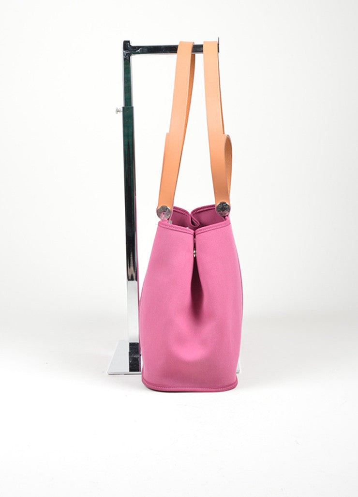 "Pink Canvas Hermes ""Cabas Elan"" Tote Bag Sideview"