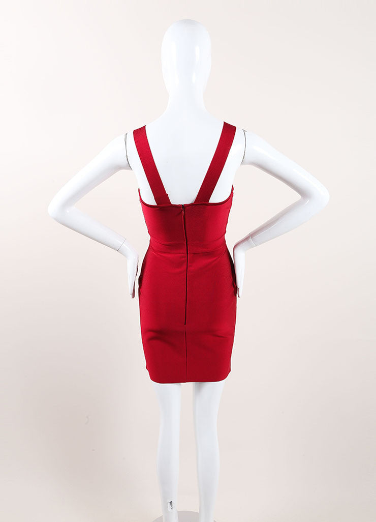 Herve Leroux New With Tags Red Sleeveless Bodycon Dress Backview