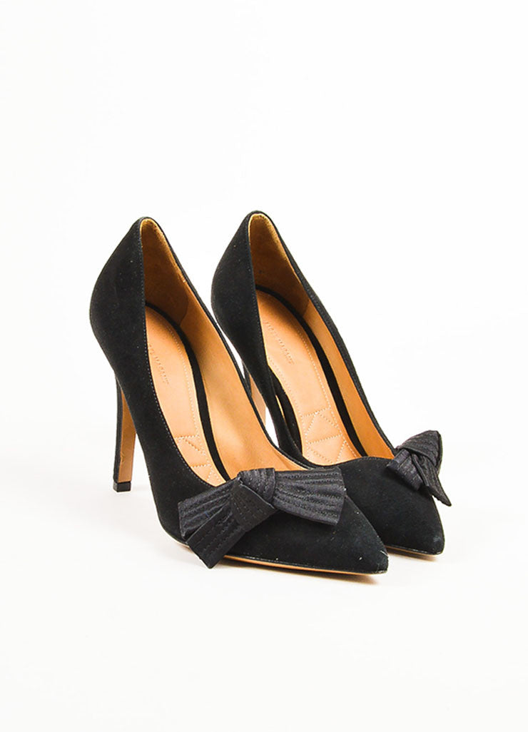 "Isabel Marant Black Suede Pointed Toe Folded Bow ""Poppy"" Pumps Frontview"