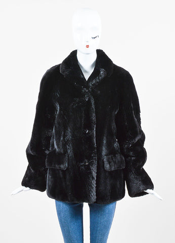 Jil Sander Black Mouton Mink Fur Short Coat Front 2