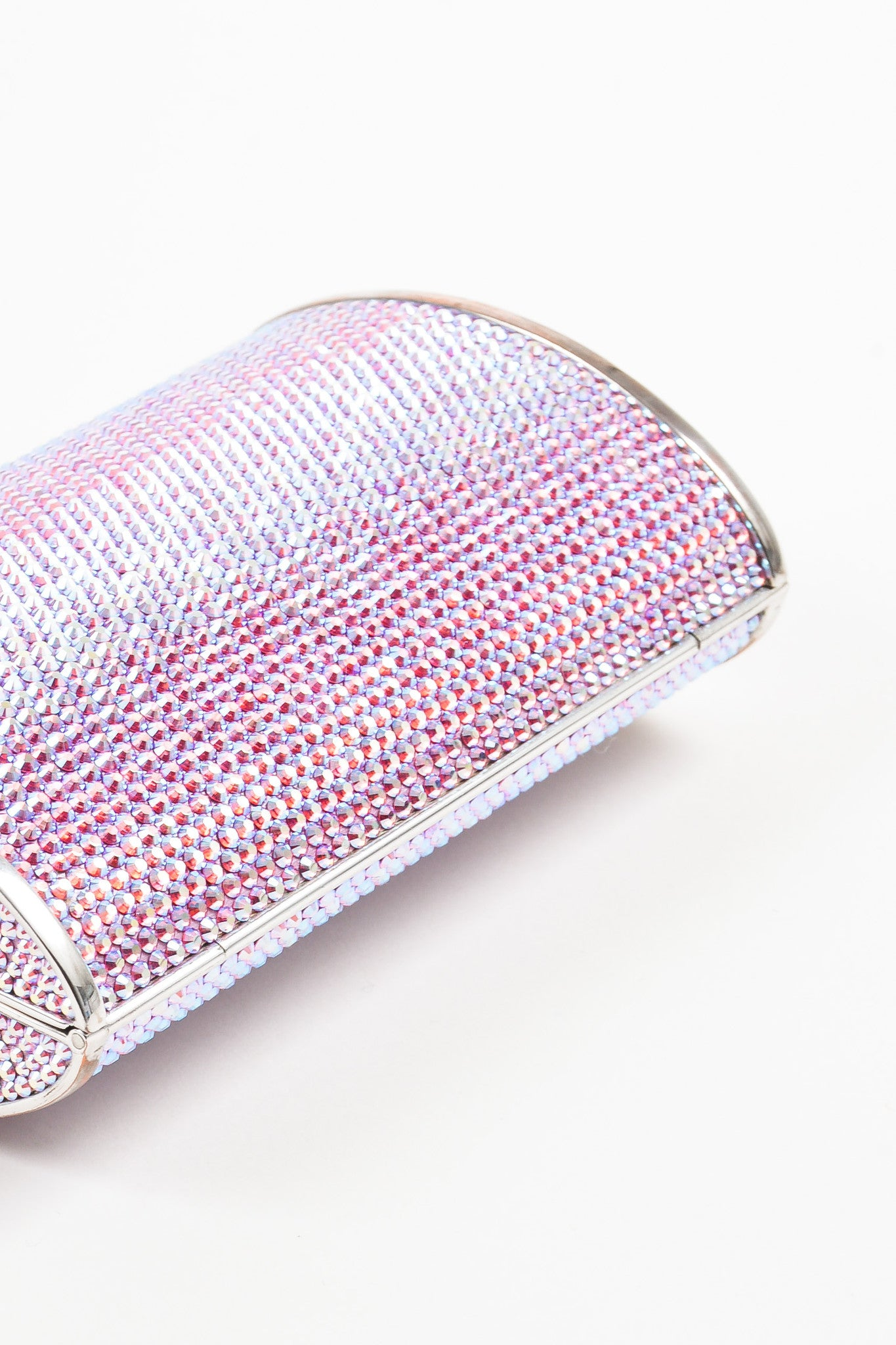 Judith Leiber Pink, Purple, and Silver Rhinestone Clutch Minaudiere Evening Bag Detail