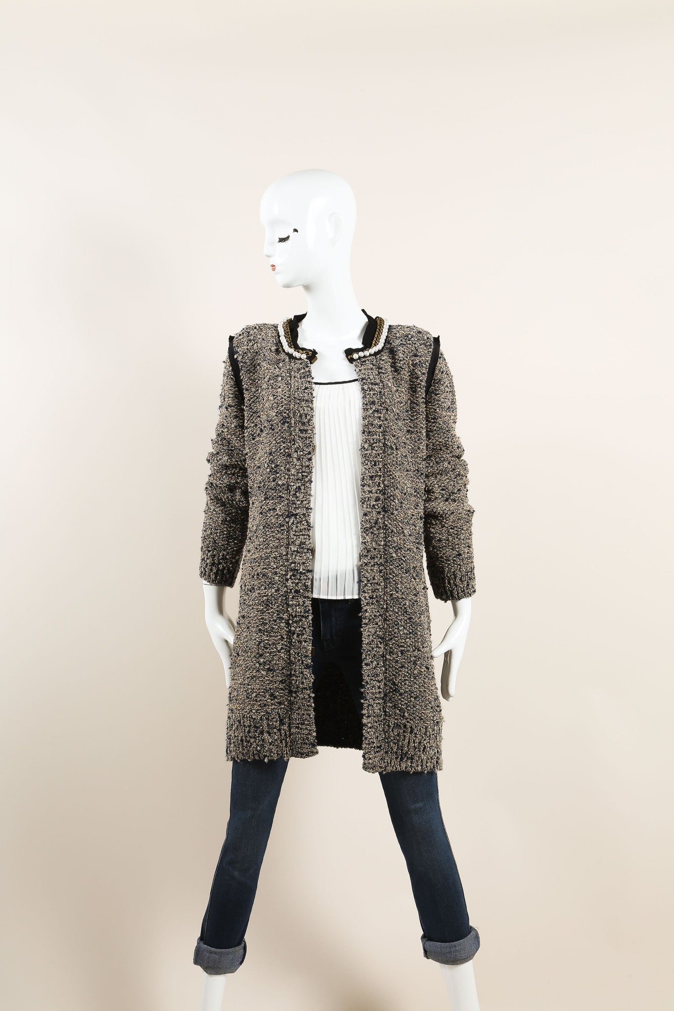 Lanvin Beige and Navy Wool and Silk Tweed Metallic Pearl Chain Trim Jacket Frontview