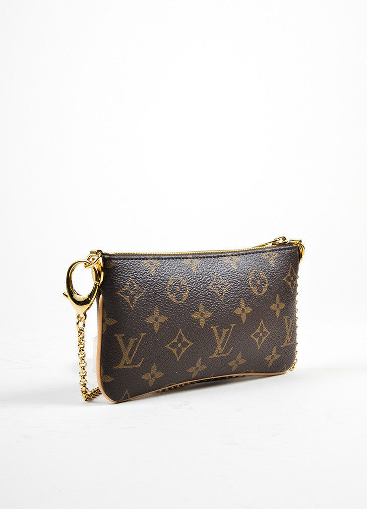 "Brown and Tan Coated Canvas Monogram ""Milla MM"" Chain Clutch Backview"