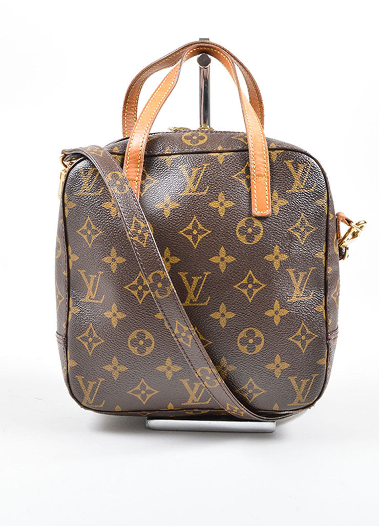 Louis Vuitton Brown Coated Canvas and Leather Trim Satchel Bag Frontview
