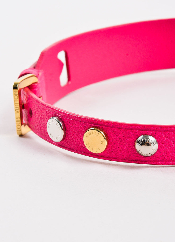 Louis Vuitton Pink, Gold Toned, and Silver Toned Leather Studded Dog Collar Detail