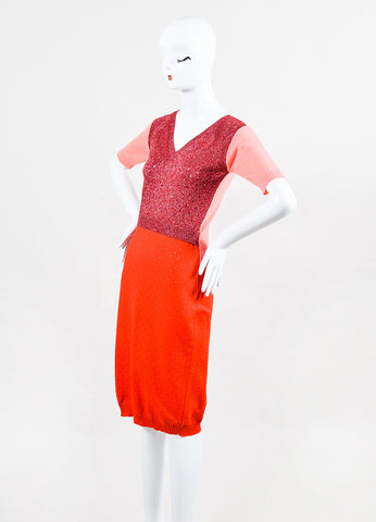 Louis Vuitton Pink Red Metallic Knit Back Cut Out SS Fitted Dress angled