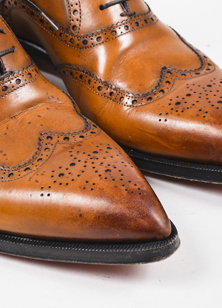 "Men's Christian Louboutin Cognac ""Platers Fiori"" Leather Oxford Shoes Detail"