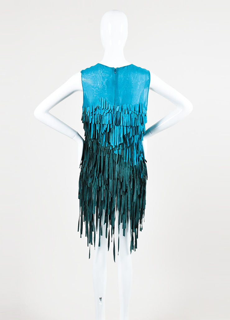 Teal and Green Mathieu Mirano Suede and Silk Sleeveless Fringe Tunic Dress Backview