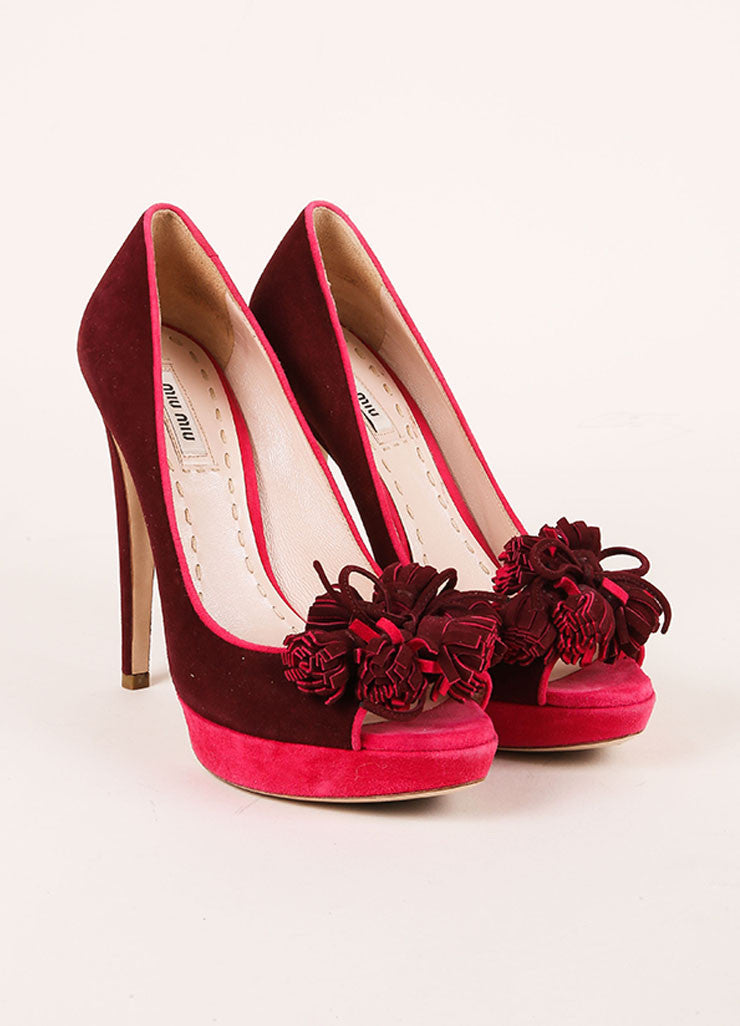 Miu Miu Pink and Purple Tassel Detail Peep Toe Platform Pumps Frontview
