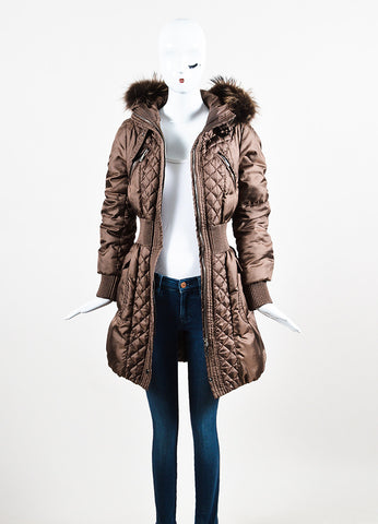 Moncler Bronze Quilted Cinched Waist Fur Trim Hood Bubble Coat Frontview