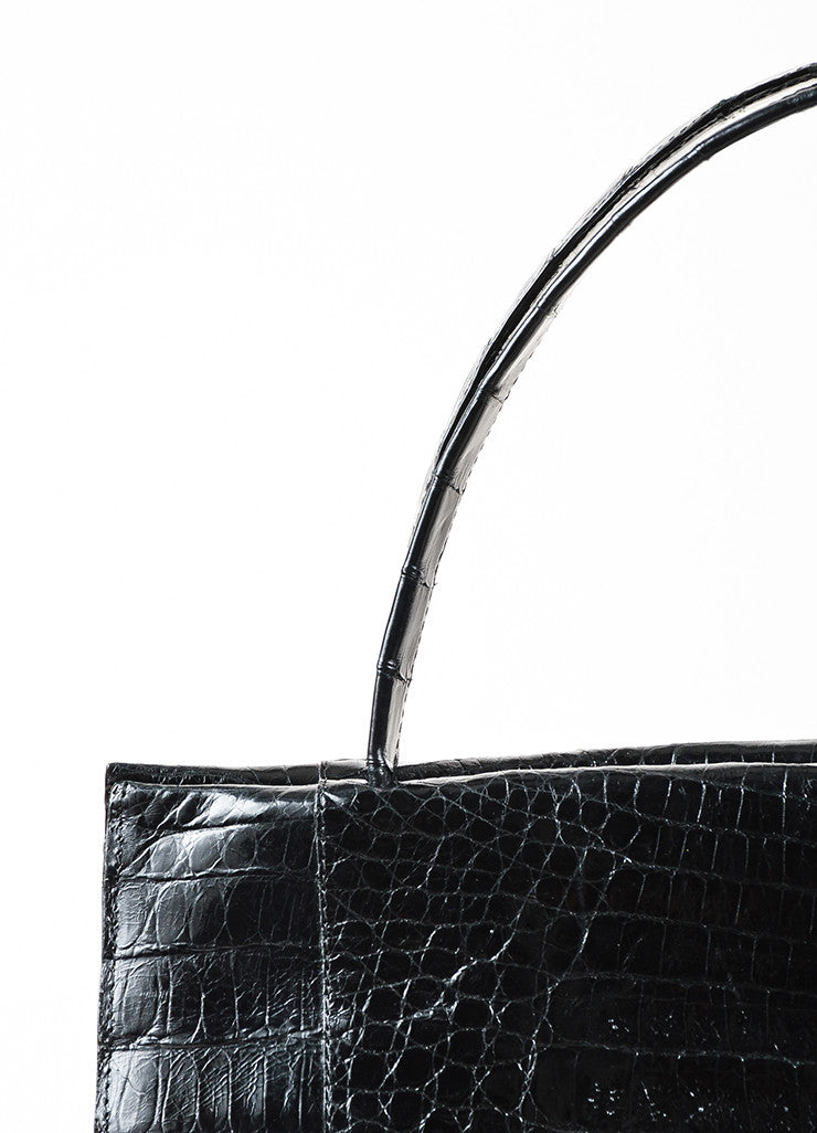 Nancy Gonzalez Black Crocodile Leather Tote Bag Detail 2