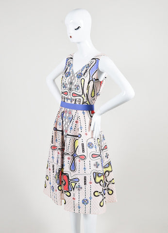 "Peter Pilotto Multicolor 3-D Waffle Textured Printed ""Circle V"" Dress Sideview"