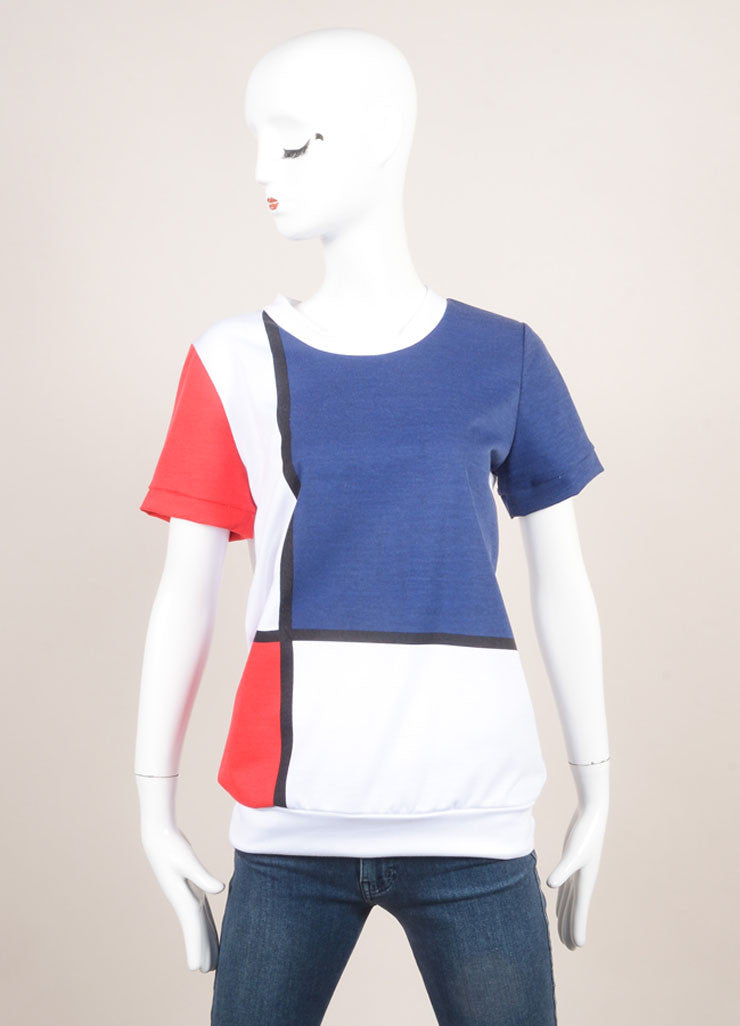 "Pret a Surf New With Tags White, Navy,and Red ""Mondrian"" Print Short Sleeve Cotton Sweatshirt Frontview"