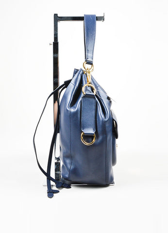 """Cadet Blue"" Ralph Lauren Leather ""Ricky Drawstring"" Bucket Bag Sideview"