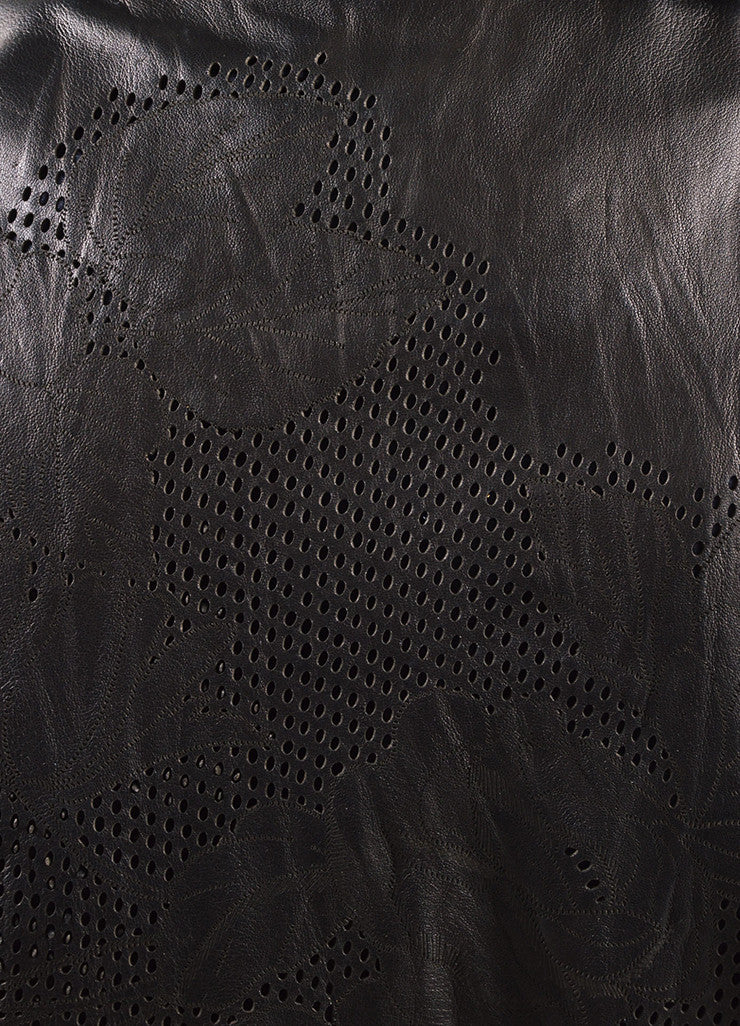 Roberto Cavalli Black Leather Floral Perforated Belted Jacket Detail