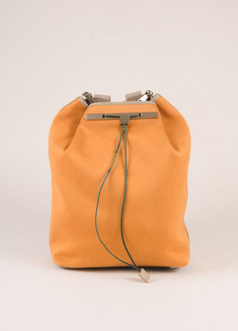 Orange and Grey Cotton and Leather Drawstring Backpack