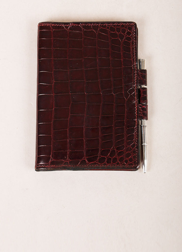Hermes Brown Crocodile Leather Planner Address Book Cover Frontview