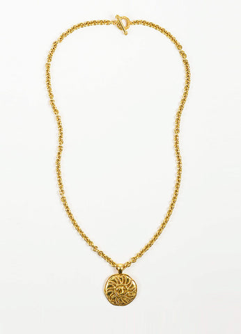 Gold Toned Chanel 'CC' Logo Sun Round Pendant Necklace Frontview