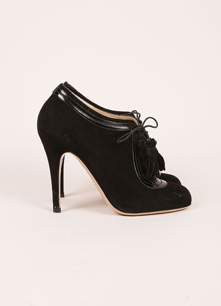 Valentino Black Suede and Patent Leather Lace Up High Heel Ankle Booties Sideview
