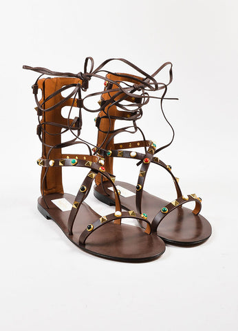 "Brown Valentino Leather ""Rockstud Rolling"" Gladiator Sandals Front"