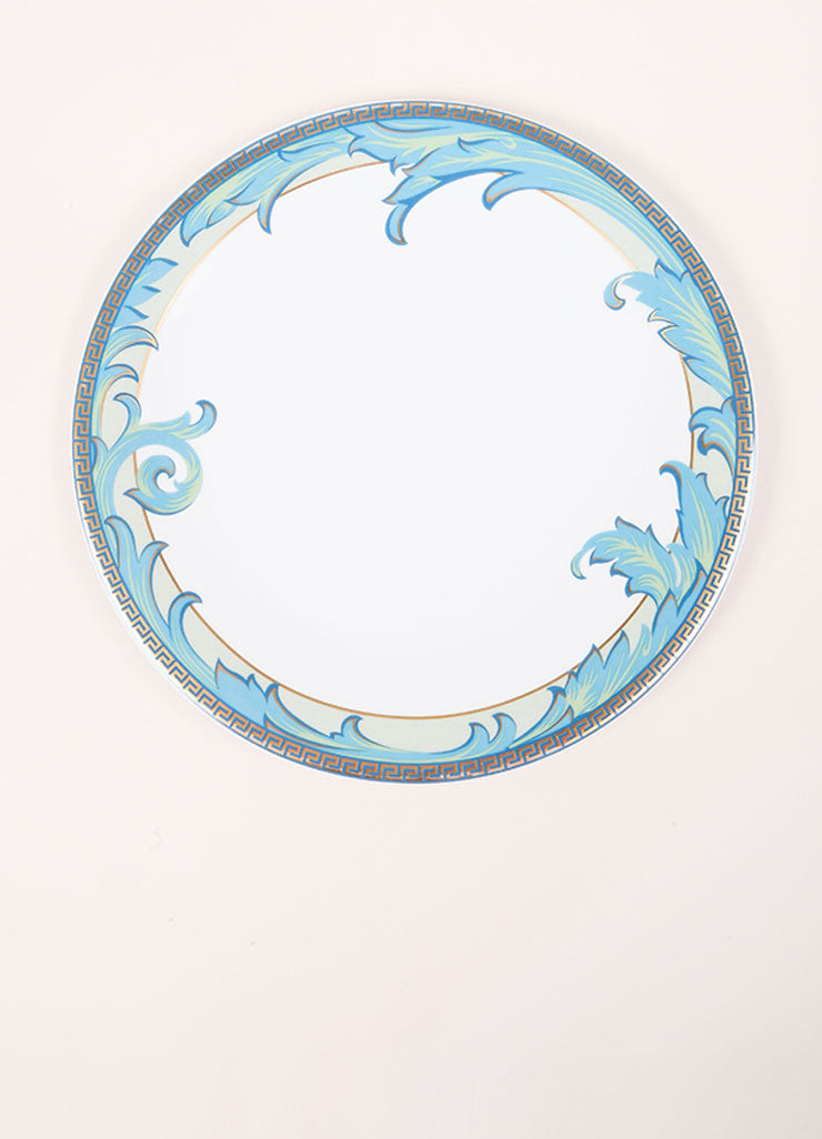 "Versace Rosenthal White and Blue ""Arabesque"" 11 inch Dinner Plate Frontview"