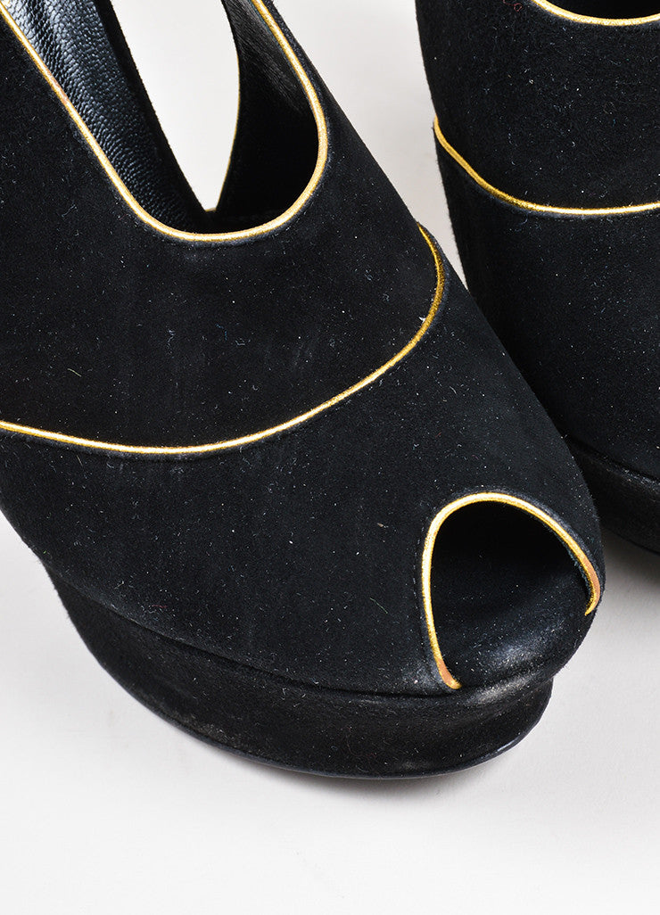 Black and Gold Yves Saint Laurent Suede Peep Toe Cut Out Platform Heels Detail