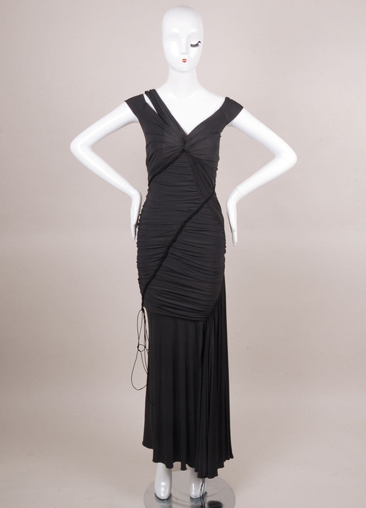 Black Ruched Sleeveless Gown With Braided Trim