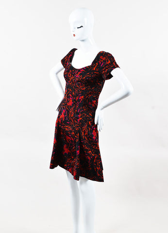 Thakoon Red and Black Satin Printed Cap Sleeve Fit Flare Dress Sideview