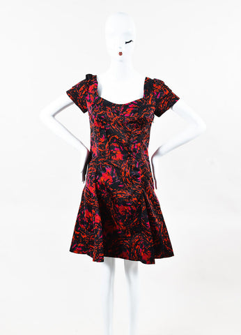 Thakoon Red and Black Satin Printed Cap Sleeve Fit Flare Dress Frontview