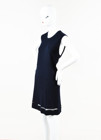 Balenciaga Navy Blue Cashmere Sheer Trim Sleeveless Shift Dress Side