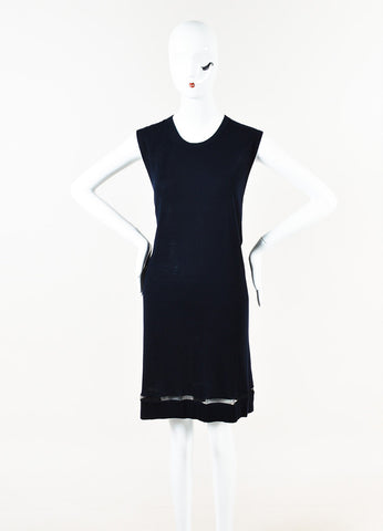 Balenciaga Navy Blue Cashmere Sheer Trim Sleeveless Shift Dress Front