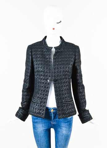 Chanel 05P Black Tweed Houndstooth Patterned 'CC' Button Jacket Front