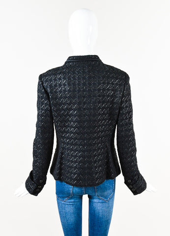 Chanel 05P Black Tweed Houndstooth Patterned 'CC' Button Jacket Back