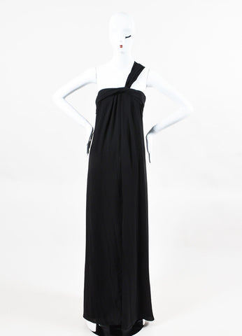 Halston Heritage Black Pleated One Shoulder High Cut Slit Gown