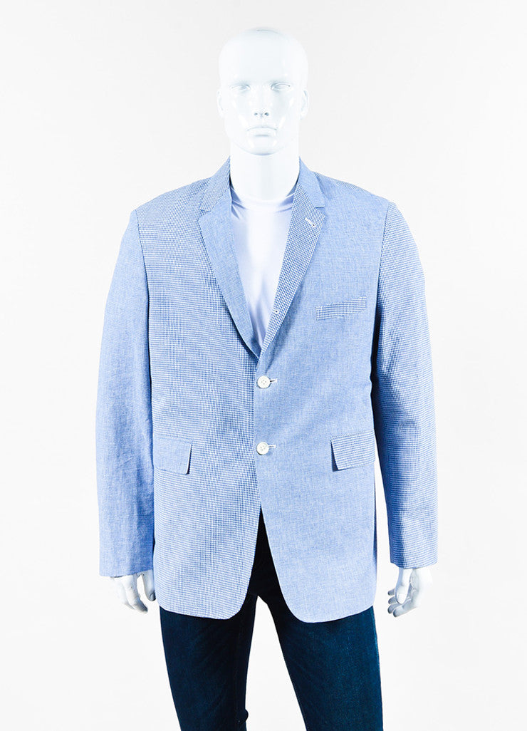 Men's Thom Browne Blue Gingham Plaid Jacket Front
