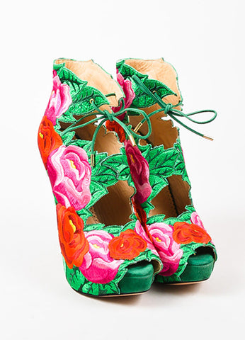 Charlotte Olympia Red, Pink, and Green Hibiscus Embroidered Platform Pumps Frontview