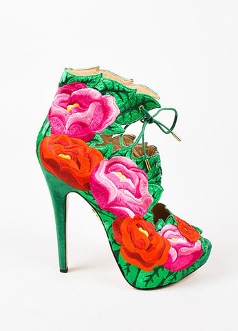 Charlotte Olympia Red, Pink, and Green Hibiscus Embroidered Platform Pumps Sideview