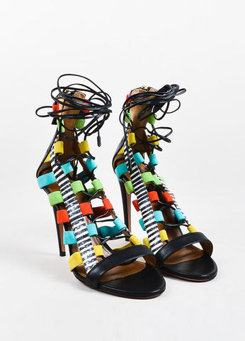 "Aquazzura Black and Multicolor Leather Lace Up ""Amazon"" Open Toe Heels Frontview"