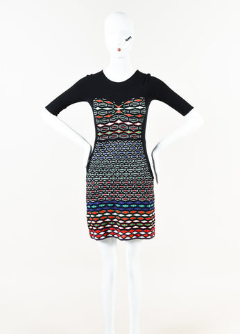M Missoni Black Multicolor Cotton Blend Knit Patterned Sheath Dress Front