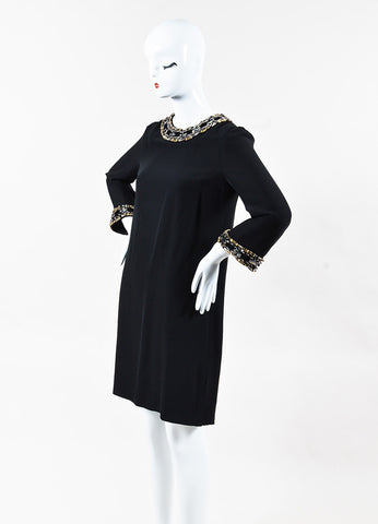 Gucci Black & Gunmetal Gray Silk Embellished Bell Sleeve Shift Dress Front
