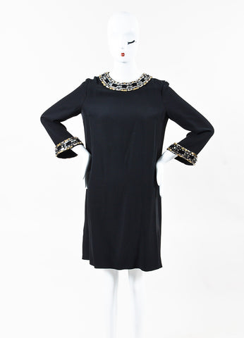 Gucci Black & Gunmetal Gray Silk Embellished Bell Sleeve Shift Dress Front 2