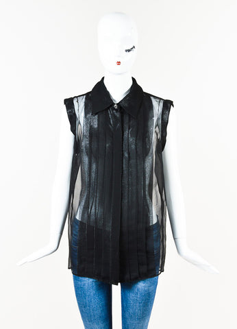 Chanel Black Metallic Sheer Silk Pleated Sleeveless Button Up Blouse Front