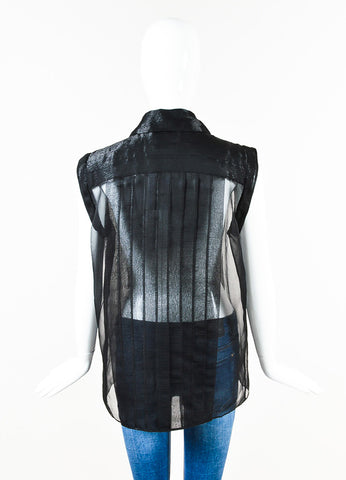 Chanel Black Metallic Sheer Silk Pleated Sleeveless Button Up Blouse Back