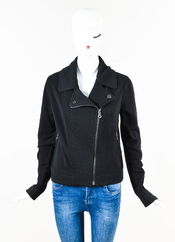 Chanel Black Wool Knit Quilted Zip Long Sleeve Sweater Jacket Front