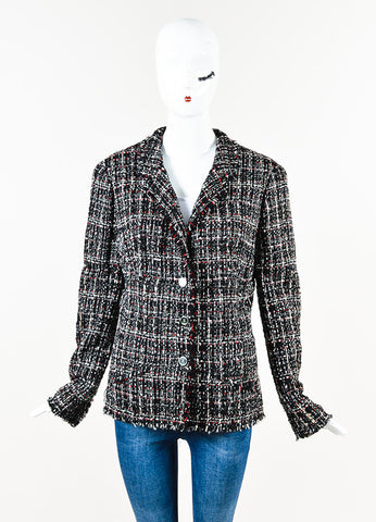 Chanel Black White Red Tweed Button Front Jacket Front