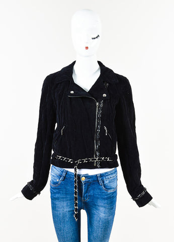 Chanel 06A Navy Velvet Silver Tone Chain Link Zip Up Motorcycle Jacket Front